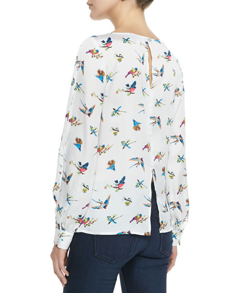 Elsy Swallow Print Charmeuse Blouse, Ivory