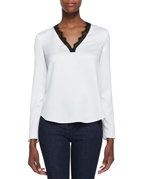 Medallion Lace Trimmed Hammered Satin Blouse, Ivory/Black
