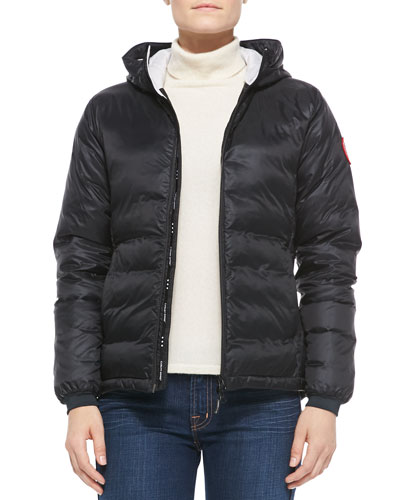 Camp Hooded Quilted Shell Down Jacket in Black