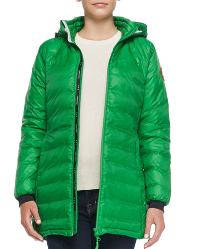 Camp Hooded Mid-Length Puffer Coat, Jade Green