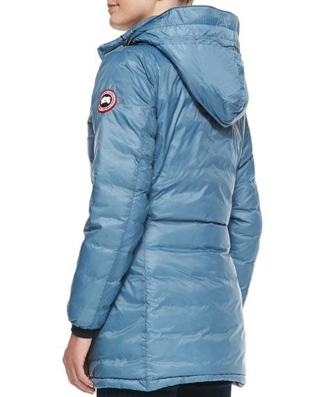 Camp Hooded Mid-Length Puffer Jacket, Ocean