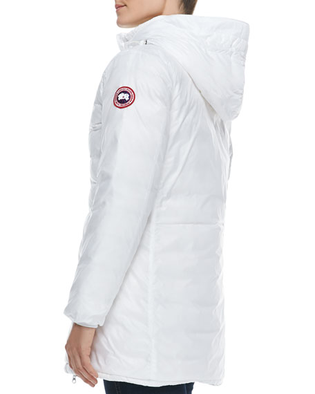 Camp Hooded Mid-Length Puffer Coat, White