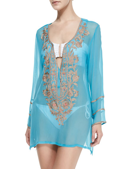 Belle Floral Beaded Sheer Tunic Coverup