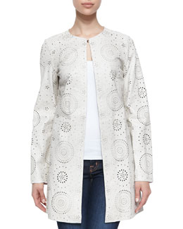 Neiman Marcus Laser-Cut Long Lambskin Leather Jacket