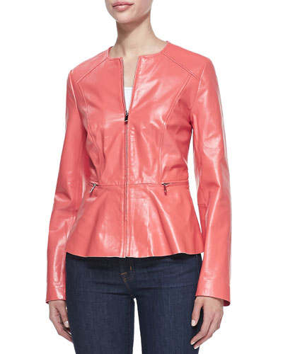 Neiman Marcus Peplum Leather Jacket