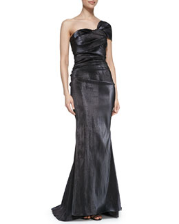 Talbot Runhof One-Shoulder Ruched Waist Mermaid Gown
