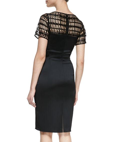 Short-Sleeve Cutout-Bodice Cocktail Dress