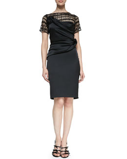 Talbot Runhof Short-Sleeve Cutout-Bodice Cocktail Dress