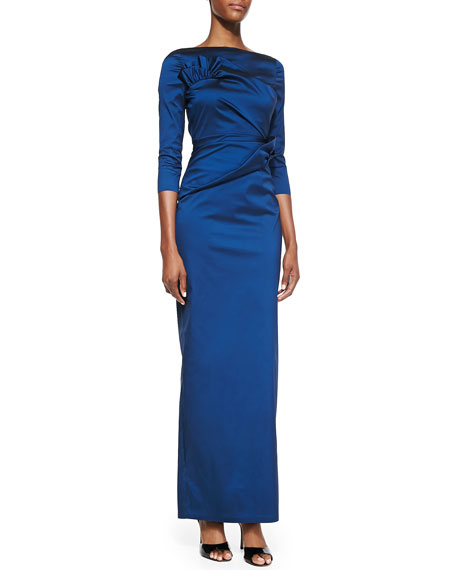 3/4-Sleeve Ruffle Detail Gown