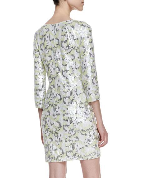 Animal Wave Print Sequin Sheath Dress, Acid Zest Multi