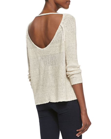 Striped Scoop-Back Knit Pullover