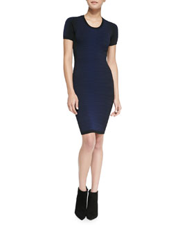French Connection Danni Degrade Body Conscious Dress, Prussian Blue