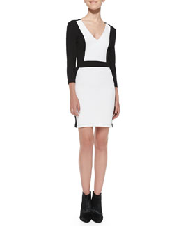 French Connection Colorblock Pique Body-Conscious Dress, Black/White
