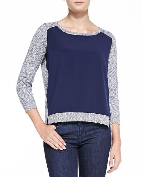Odette Slub-Knit Combo Sweater, Blue