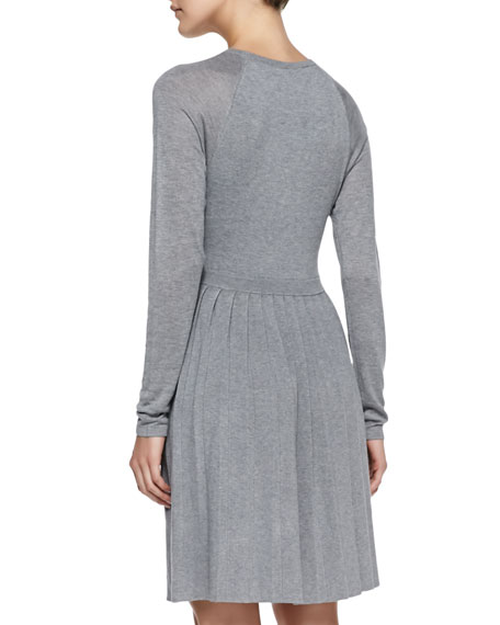 Pleated Fit-And-Flare Sweaterdress, Light Gray