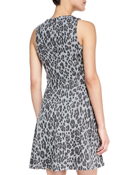 Pasha Leopard Print Fit-And-Flare Dress, Gray