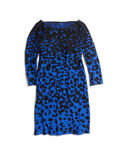 4.collective Leopard-Print Jersey Dress, Cobalt/Black