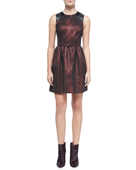 4.collective Cobra Faux-Leather-Inset Jacquard Dress, Red