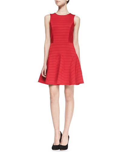4.collective Anna Pintuck-Tiered Fit-And-Flare Dress, Red