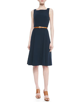 Michael Kors Wool Crepe Flare Dress With Belt