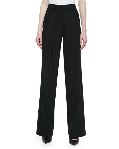 Pleated Wide-Leg Pants, Black