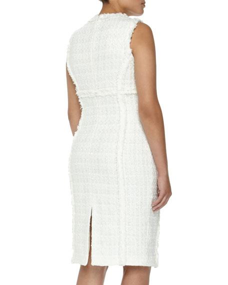 Shimmer Tweed Sheath Dress, Optic White, Women's