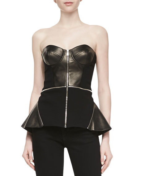 Crepe & Leather Zip-Front Bustier