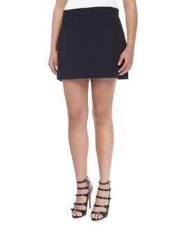Michael Kors Compact Circle-Pocket Canvas Skirt, Women's
