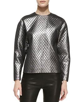 Michael Kors Quilted Lame Raglan Shell