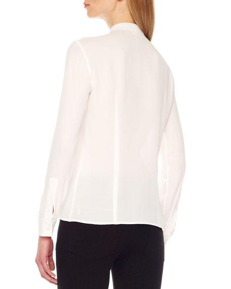 Drape-Front Silk Blouse, White