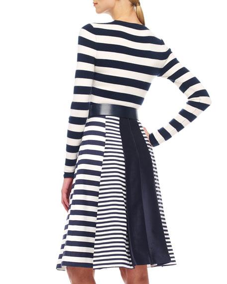 Mix-Stripe Shantung Skirt