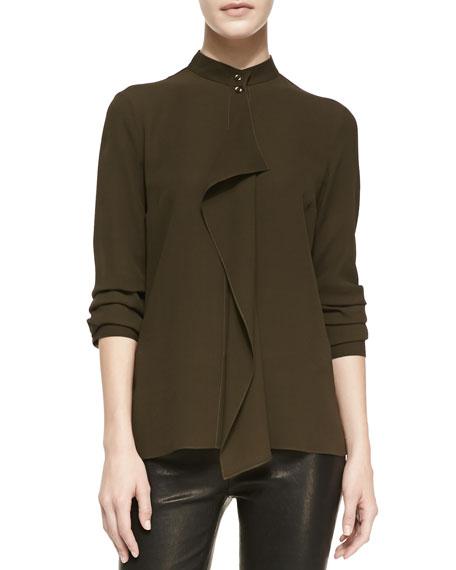 Drape-Front Silk Blouse, Olive