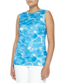 Michael Kors Pool Print Sateen Shell, Oxford Blue, Women's
