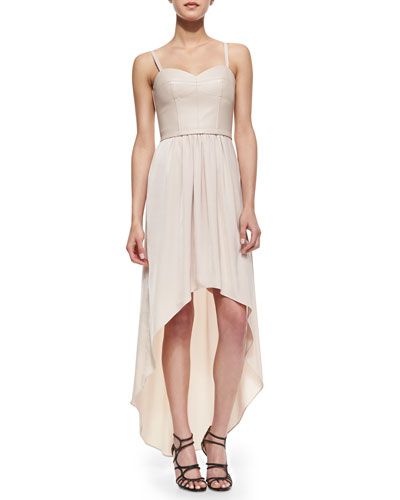 BCBGMAXAZRIA Leandra Faux-Leather Corset High-Low Dress, Light Bare Pink
