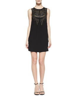 12th Street by Cynthia Vincent Studded Sleeveless Shift Dress