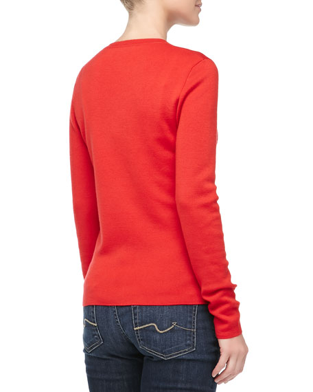 Long-Sleeve Super Cashmere Cardigan, Coral