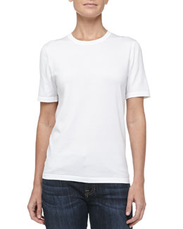MICHAEL KORS Lisle Short-Sleeve Tee, Optic White