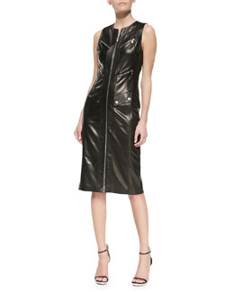 Michael Kors Plonge Leather Zip-Front Dress