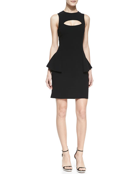 Crepe Cutout Peplum Dress, Black