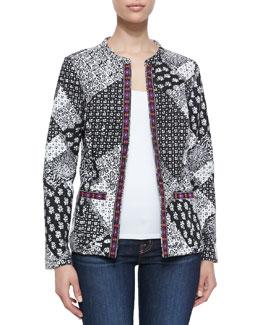 Indikka Paisley & Boho-Print Jacket with Contrast Trim