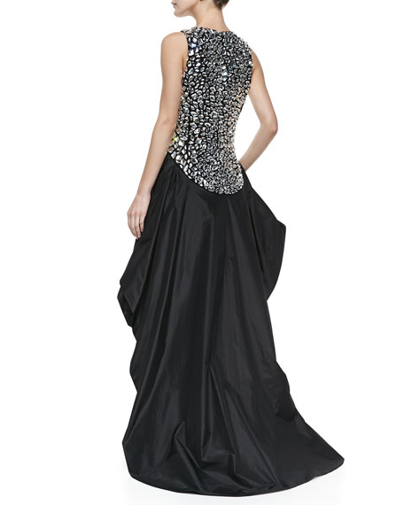 Crepe Jeweled Peplum Gown