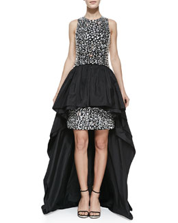 Michael Kors Crepe Jeweled Peplum Gown