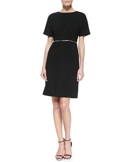 Michael Kors Crepe Zip-Waist Dress