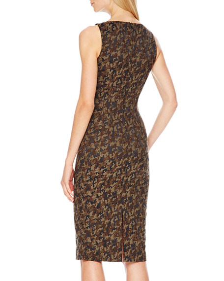 Camouflage-Jacquard Fitted Dress