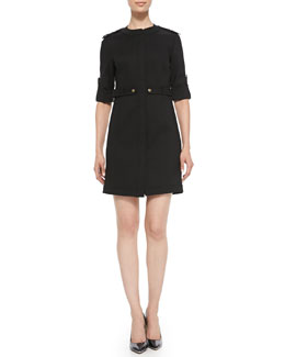 Magaschoni 3/4-Sleeve Safari Dress
