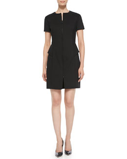 Magaschoni Short-Sleeve Peplum Dress