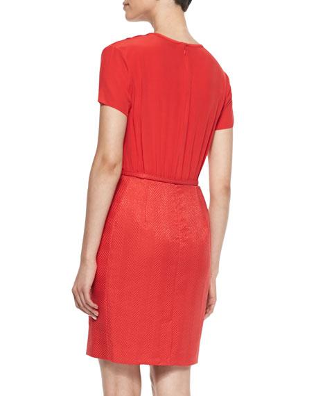 Silk & Herringbone Sheath Dress