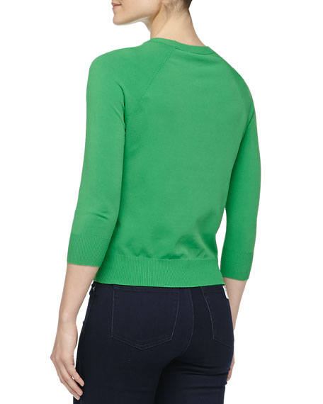 Crewneck Crepe Raglan Sweater, Palm