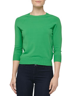 Michael Kors Crewneck Crepe Raglan Sweater, Palm