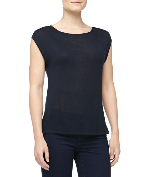 Cap-Sleeve Silk Jersey Tee, Midnight